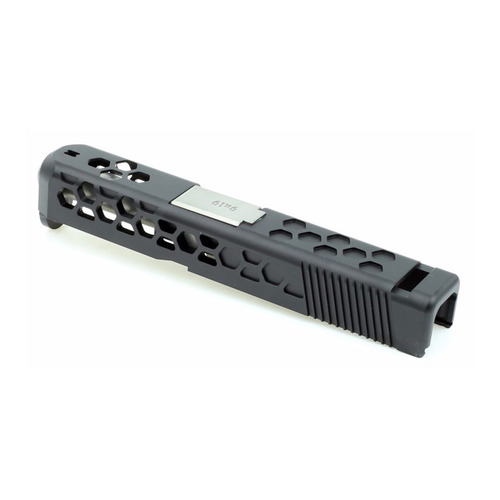 Glock 26 HEX Style Slide Set for Aluminum Black/Silver Barrel